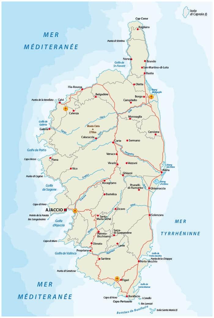 mapa da ilha da corsega