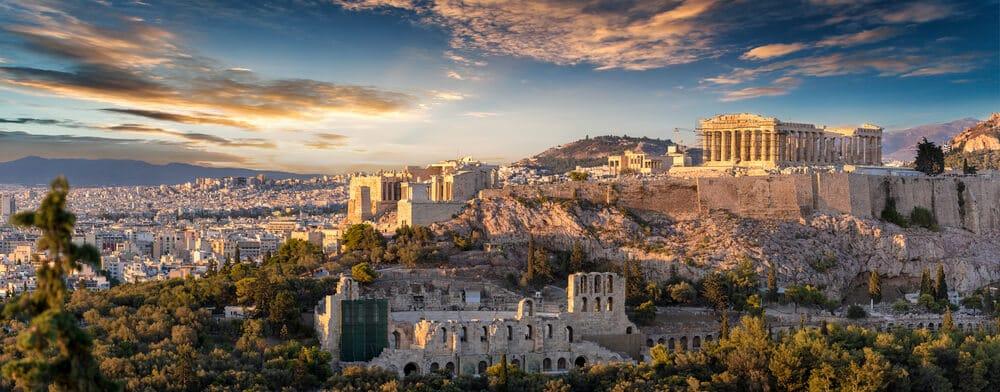 foto panoramica da cidade de atenas e da acropole