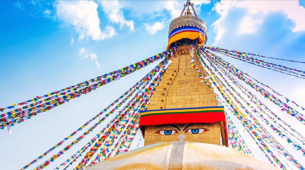 o maior boudhanath stupa de catmandu