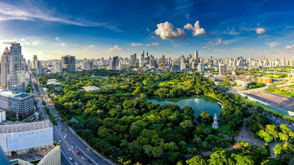 vist aerea do parque lumpini num dia de sol