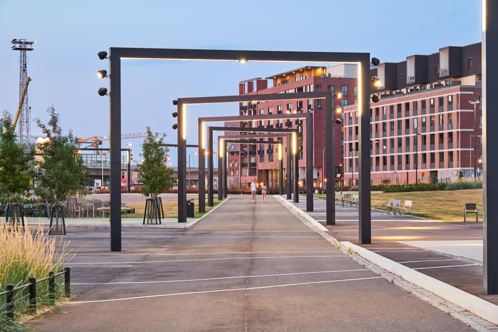 arcos num passeio do distrito do design