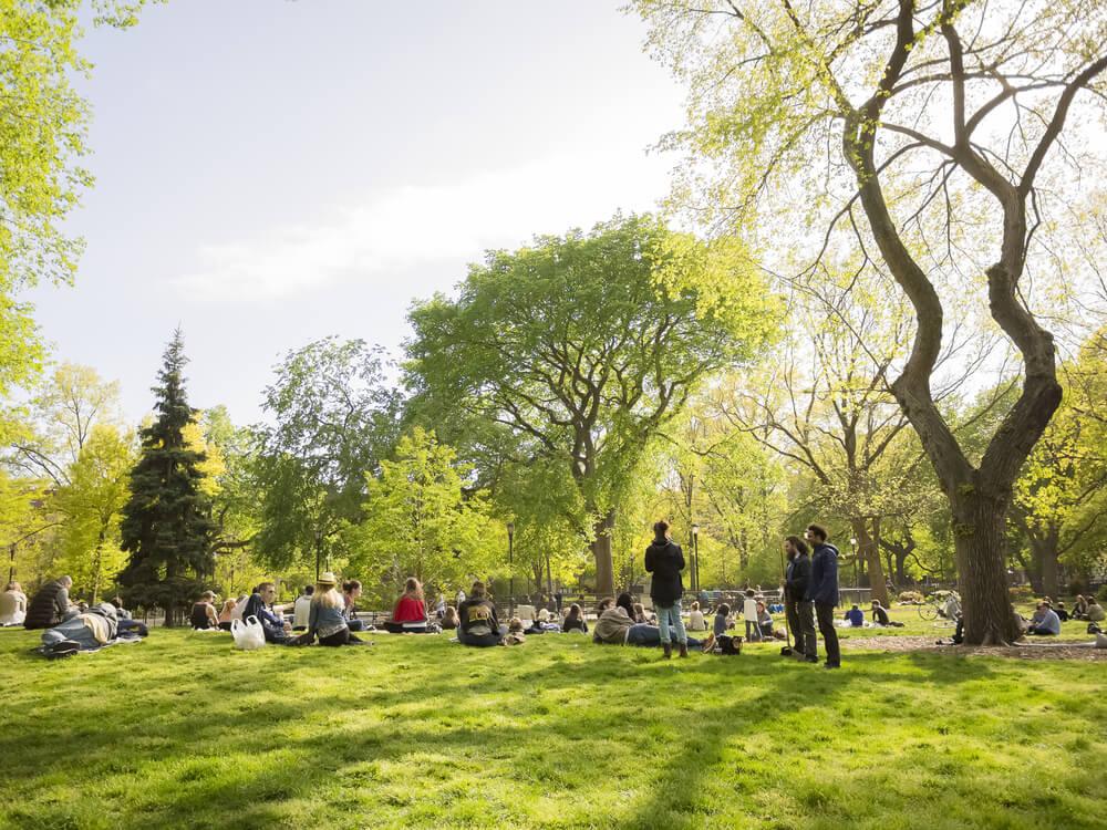 pessoas deitadas na relva no Tompkins Square Park