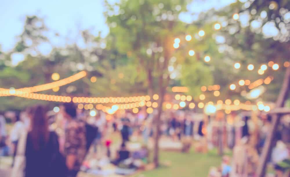 imagem desfocada de um festival de verao no jardim com arvores e luzes