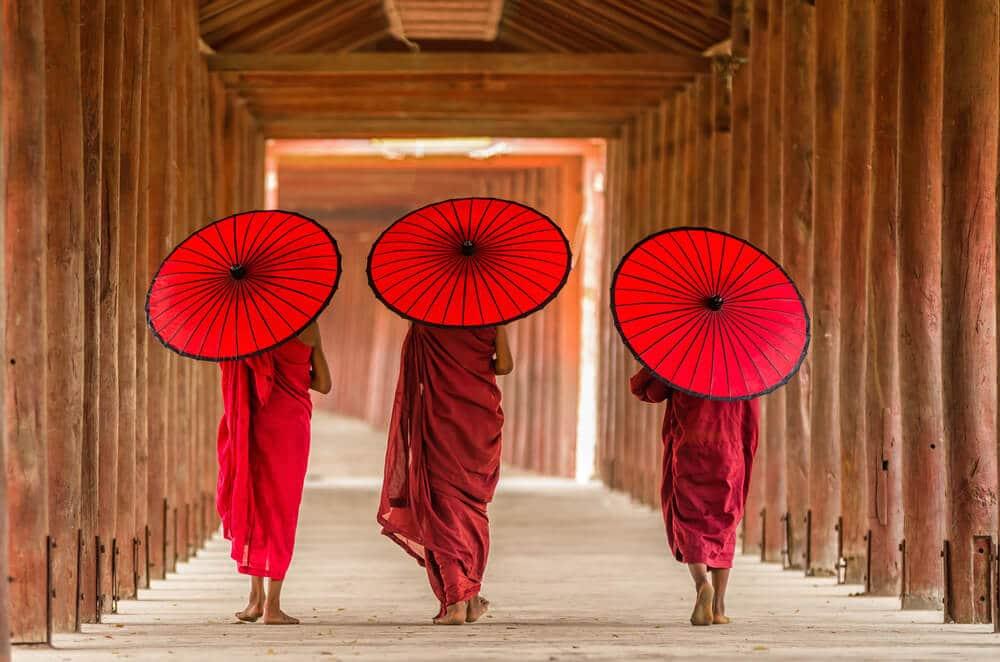 tres monges budistas de costas com guarda-sois laranjas